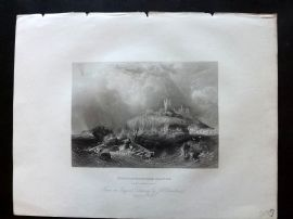 After Carmichael 1834 Antique Print. Dunstanborough Castle, Northumberland